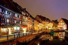 Underbar jul som markerar i Colmar, Alsace, Frankrike Arkivfoton