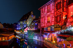 Underbar jul som markerar i Colmar, Alsace, Frankrike Royaltyfri Foto