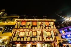 Underbar jul som markerar i Colmar, Alsace, Frankrike Stre Royaltyfria Foton