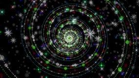 Underbar julanimering med partikelobjekt och snöflingor plus stjärnor, 4096x2304 ögla 4K arkivfilmer