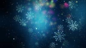 Underbar julanimering med snöflingor, ögla HD 1080p vektor illustrationer