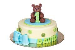 Underbar kaka för en födelsedag för barn` s ett år royaltyfri bild