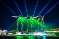 Underbar ljus show på Singapore Royaltyfri Bild