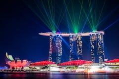 Underbar ljus show på Singapore Royaltyfri Fotografi