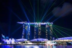 Underbar ljus show på Singapore Royaltyfri Foto