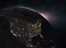 Underbar soluppgång över jorden - Nordamerika Royaltyfri Foto