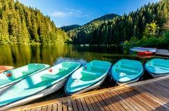 Underbar sommarmorgon majestätisk bergsjö Lacul Rosu den röda sjön eller mördare sjö läge Evropa Östligt Carpathian ROM-minne arkivbild