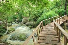 Underbar träbro över en vattenfall, Thailand Arkivfoton
