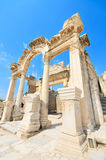 Underbara Hadrian Temple. Ephesus Turkiet. Arkivfoto
