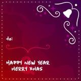 Underbara nya år helgdagsafton och glad XMAS-vektormall Design för illustration för vektor EPS10 för hälsningkort Arkivbilder