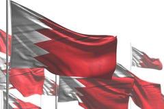 Underbart ?r m?nga Bahrain flaggor att vinka som isoleras p? vitt - fotoet med den selektiva fokusen - n?gon illustration f?r fes vektor illustrationer
