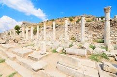 Underbart forntida fördärvar i Ephesus, Turkiet Royaltyfri Foto