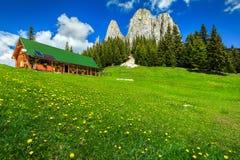 Underbart sommarlandskap med höga klippor och träkojan, Rumänien royaltyfri foto