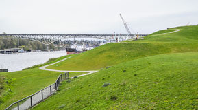 Underbart ställe som ska kopplas av i Seattle - gasverket parkera - SEATTLE/WASHINGTON - APRIL 11, 2017 Arkivbilder