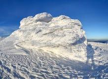 Underbart vinterlandskap på en solig dag Overklig, fantastisk, mystisk fryst textur med frost, is och snö royaltyfria foton