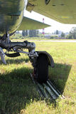 Undercarriage. Close up undercarriage of military plane Stock Photos