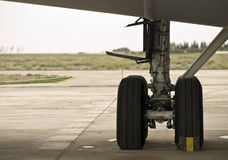 Undercarriage. WHeels or undercarriage of a large military aircraft Royalty Free Stock Photos