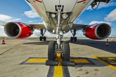 Undercarriage of the aircraft. At the airport Royalty Free Stock Photos