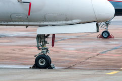 Undercarriage of the aircraft, plane at The airport. Undercarriage of the aircraft, plane at the airport Stock Photo