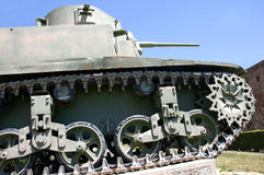 Undercarriage and caterpillars of the German tank from the World War II. This armored vehicle is produced in 1937. The tank is an item from the collection of Royalty Free Stock Images