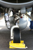 Undercarriage front landing gear. Fighter jet front landing gear royalty free stock images