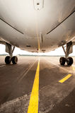 Undercarriage of jetplane, aircraft pictured from below. Undercarriage of jetplane - aircraft pictured from below Royalty Free Stock Images