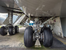 Undercarriage of jumbo jet. Landing gear of a jumbo jet airliner Stock Images