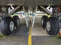 Undercarriage of jumbo jet. Landing gear of a jumbo jet airliner Royalty Free Stock Images
