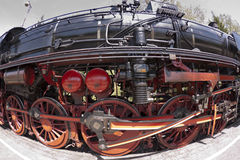 Undercarriage of a steam engine. Undercarriage and barrel of a steam locomotive Royalty Free Stock Image