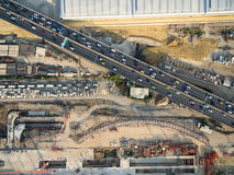 underconstruction公共交通系统的鸟瞰图 库存照片