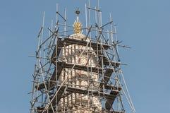 Underconstruction Wat Arun Stupa. The top of underconstruction Wat Arun Stupa, taken from Arun temle Royalty Free Stock Photos