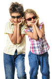 Undercover agents secret mission Halloween children funny faces Royalty Free Stock Photography