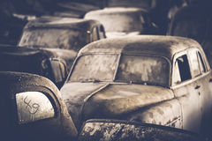 Undercover cars. Cars covered with dust and dirt Stock Image