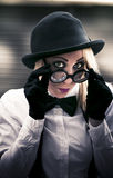 Undercover Secret Agent. Look Over Her Glasses With A Sexy Stare During An Clandestine Covert Operation Of Espionage Stock Images