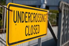 Undercrossing closed sign Stock Images