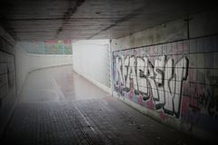 Undercrossing With Graffiti Stock Photo