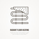 Underfloor heating flat line icon. Outline sign of radiant floor hot pipes. Vector illustration for plumbing service Royalty Free Stock Photo