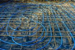 Underfloor heating in a foundation slab stock image