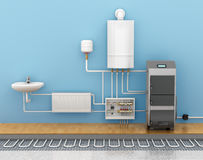 Underfloor heating, heating systems in home. Stock Photography