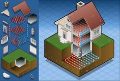 绘制underfloorheating地热的热泵 免版税库存照片
