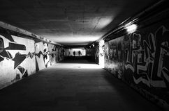 Undergound passage. With graffity on walls Royalty Free Stock Photo