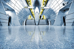 Underground. Futuristic Underground Station with motion blured people royalty free stock photos