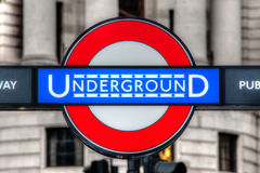 Underground. Picture taken outside a metro station in the city of London in the United Kingdom during a beautiful summer afternoon Stock Photos