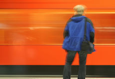 Underground. A man in an underground station Royalty Free Stock Photography