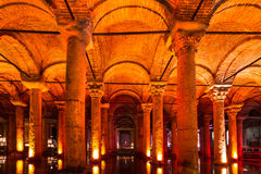 Underground Basilica Cistern, Istanbul, Turkey. Stock Photos