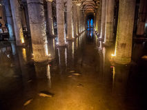 Underground Basilica Cistern, Istanbul, Turkey Royalty Free Stock Photos