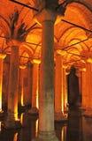 Underground basilica cistern, Istanbul, Turkey Stock Images