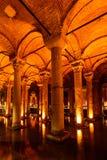 Underground Basilica Cistern (Yerebatan Sarnici), Istanbul, Turk. Underground water reservoir Basilica Cistern, Istanbul, Turkey, vertical shot Stock Images