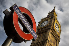 Underground and Big Ben in London Royalty Free Stock Image
