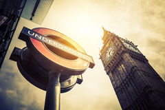 Underground and Big Ben Royalty Free Stock Images